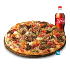 [도미노피자] 직화스테이크 피자 +콜라
