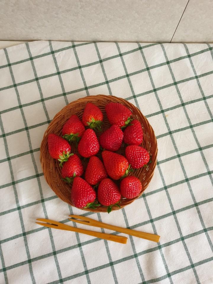 딸기를 보니 기분이 좋..